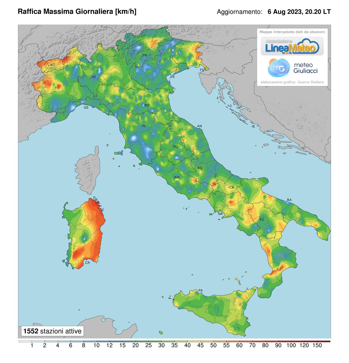 Raffiche massime Italia
