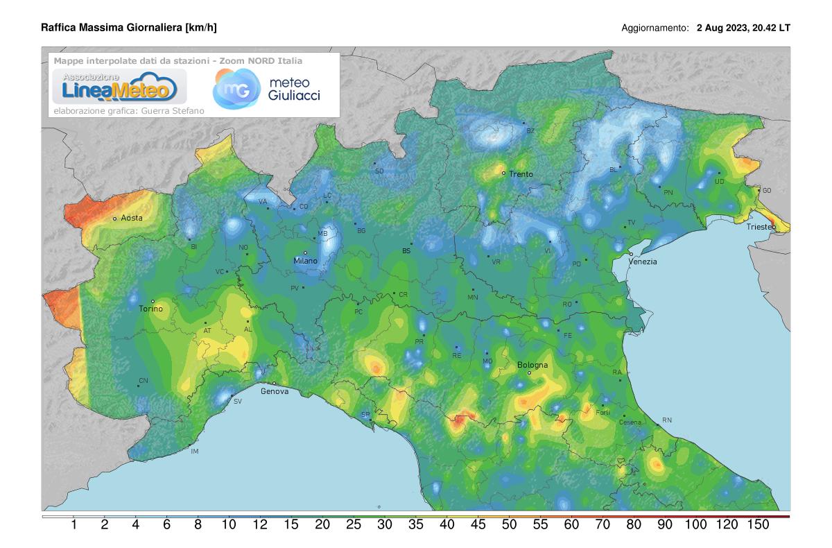 Raffiche massime Nord Italia