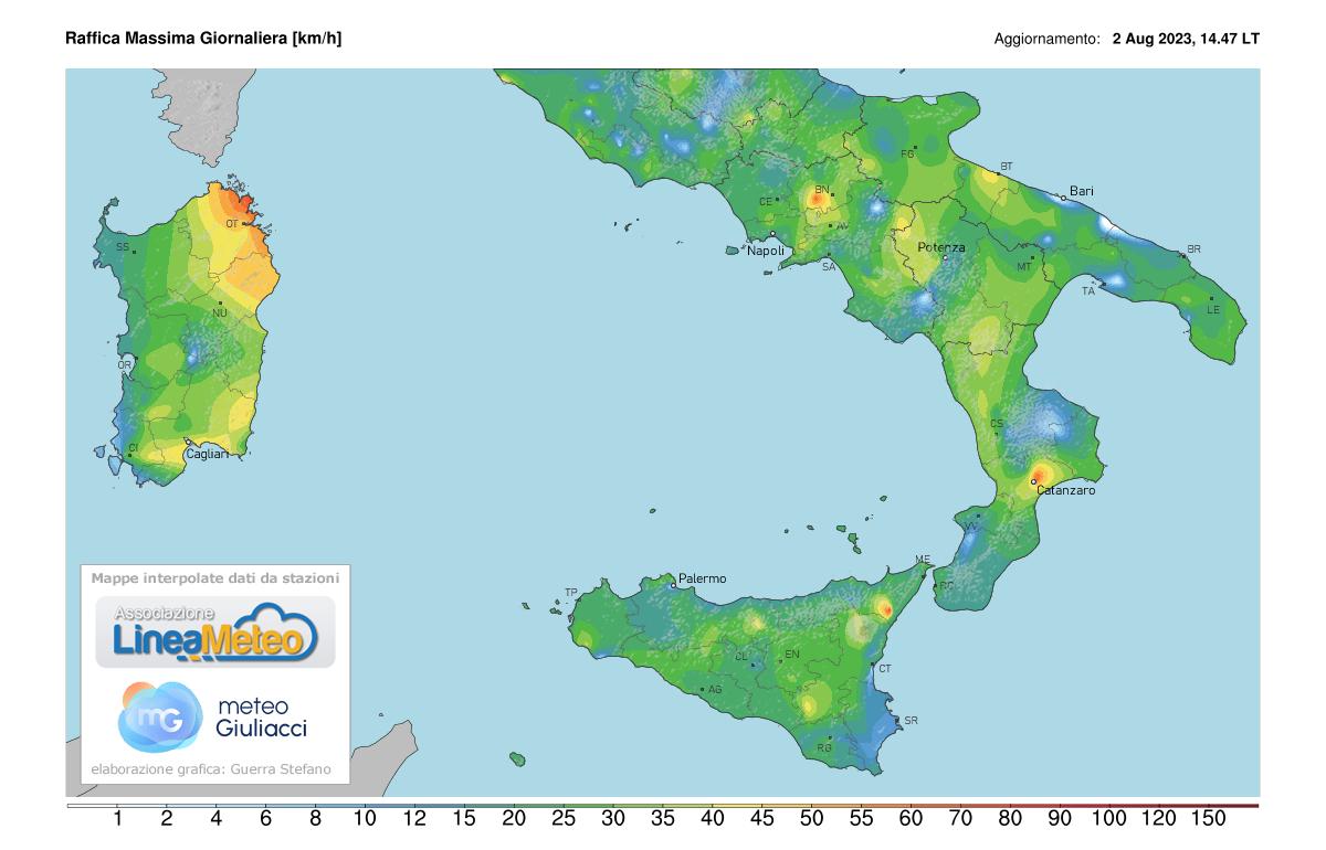Raffiche massime Sud Italia