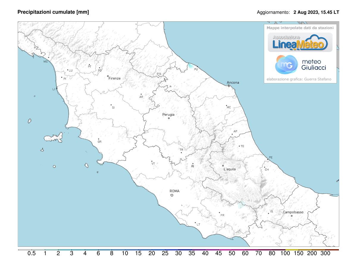 Precipitazioni accumulate Centro Italia