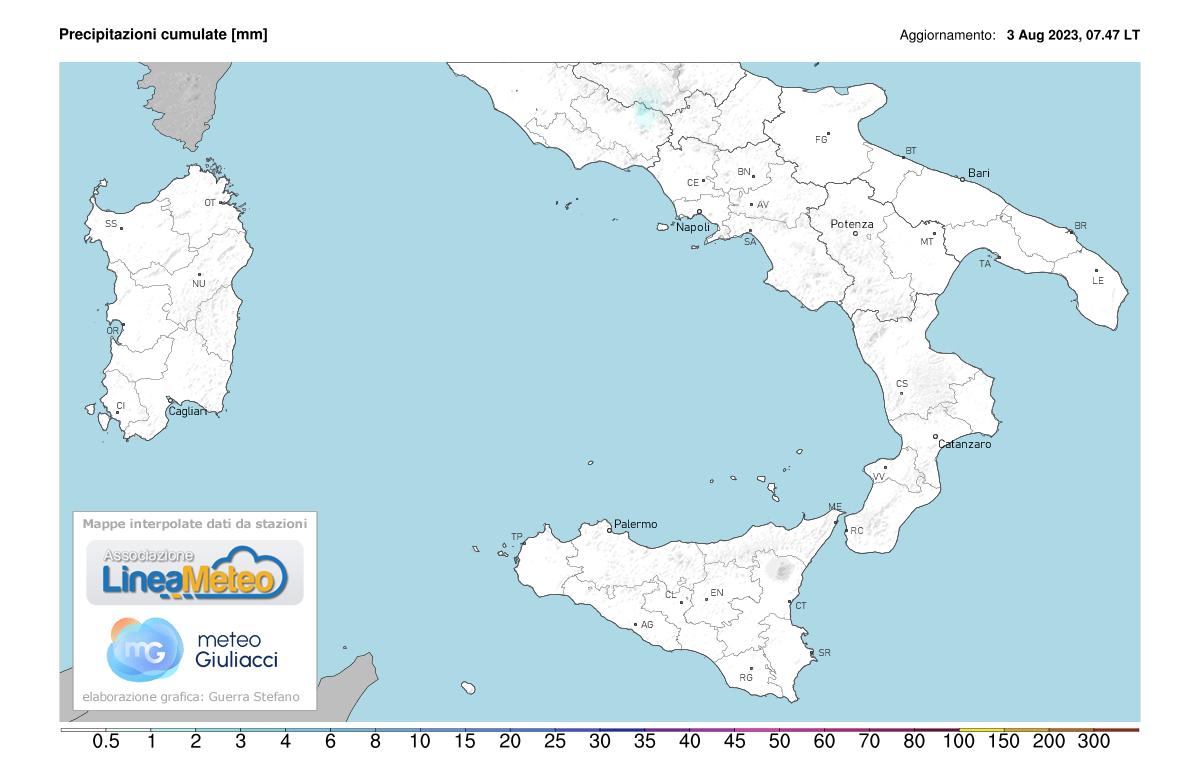 Precipitazioni accumulate Sud Italia