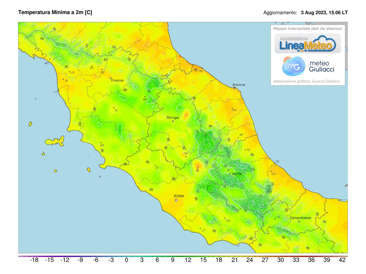 Temperature minime Centro Italia