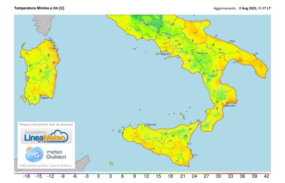 Temperature minime Sud Italia