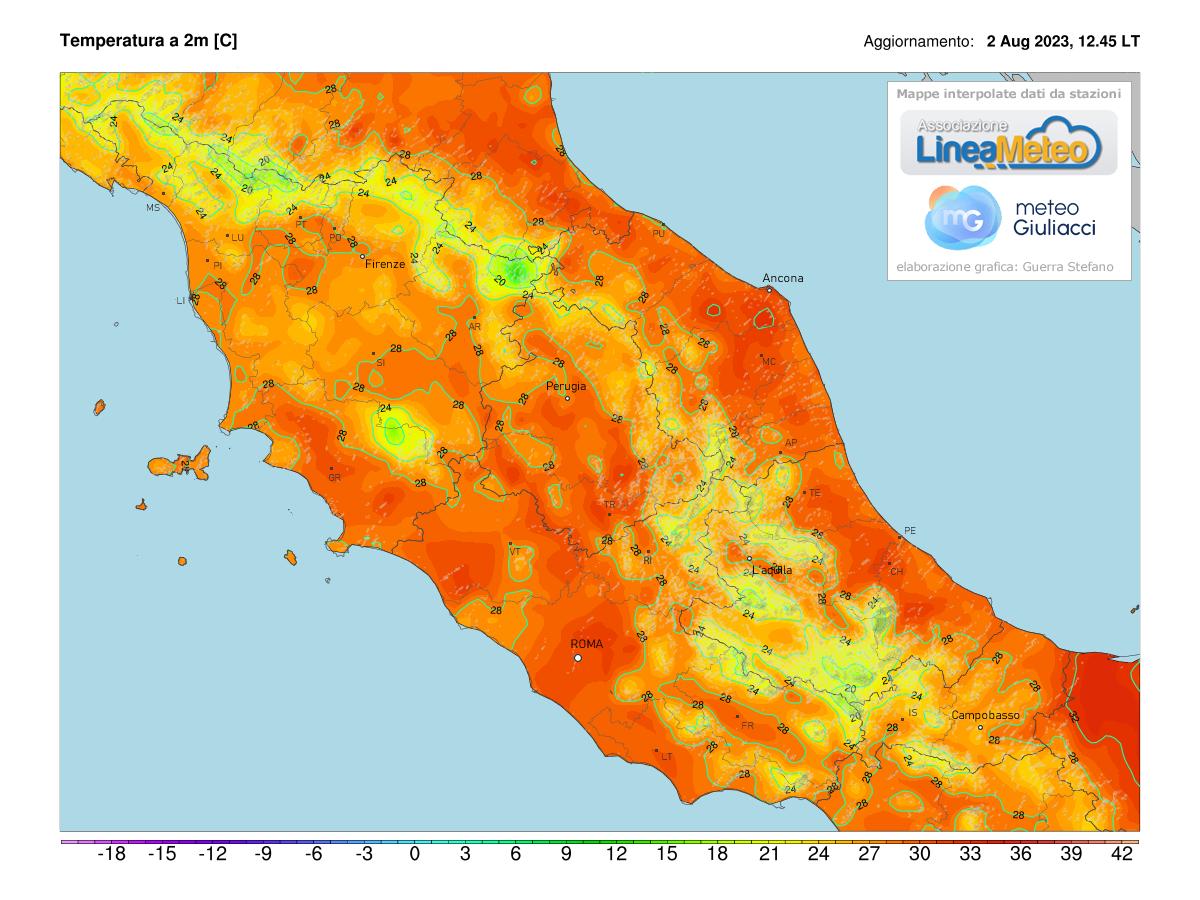 Temperature realtime al suolo 2 metri Centro Italia