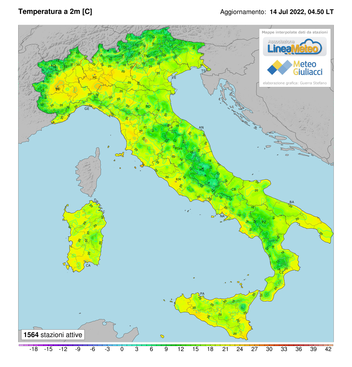 Temperature realtime al suolo 2 metri