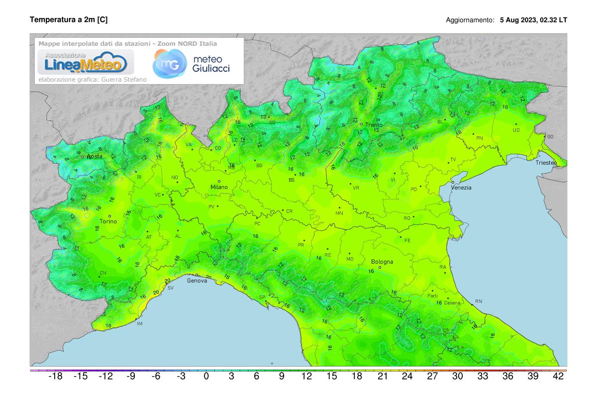 Temperature realtime al suolo 2 metri Nord Italia