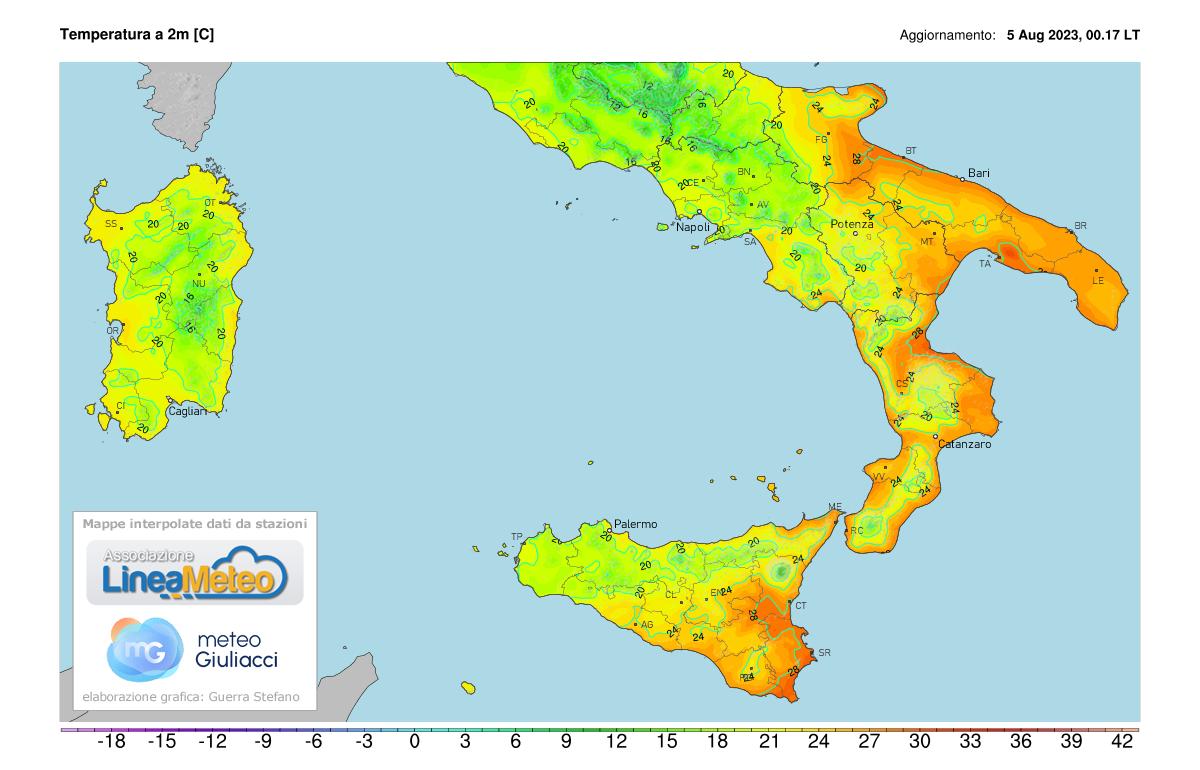 Temperature realtime al suolo 2 metri Sud Italia