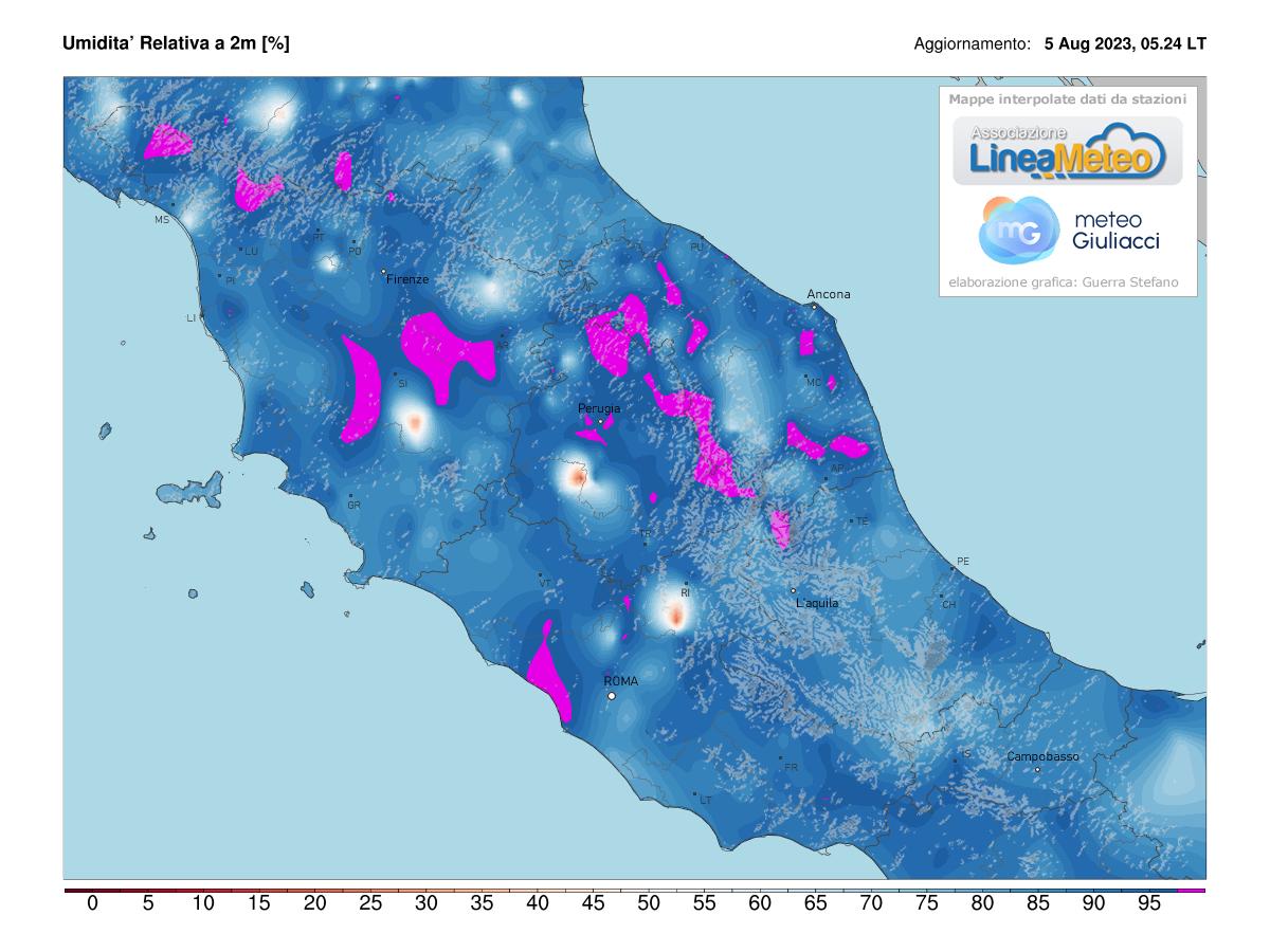 Umidità relativa Centro Italia