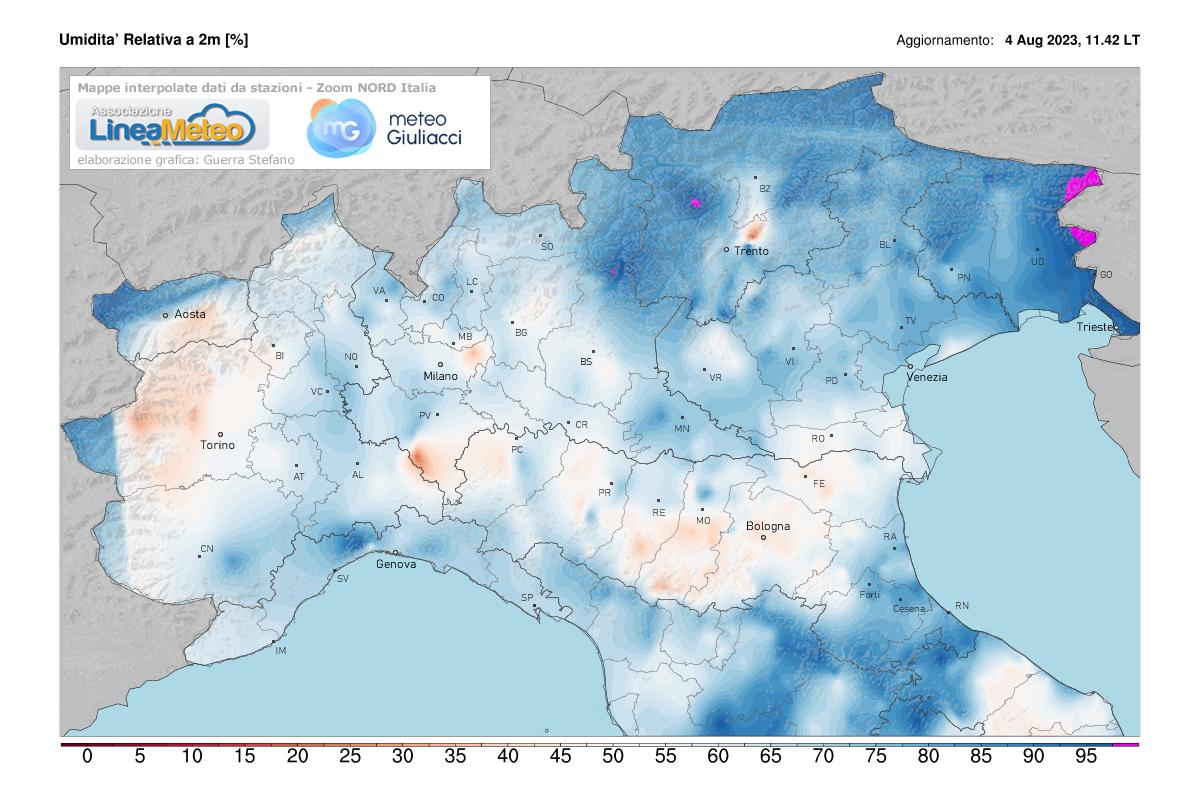Umidità relativa Nord Italia