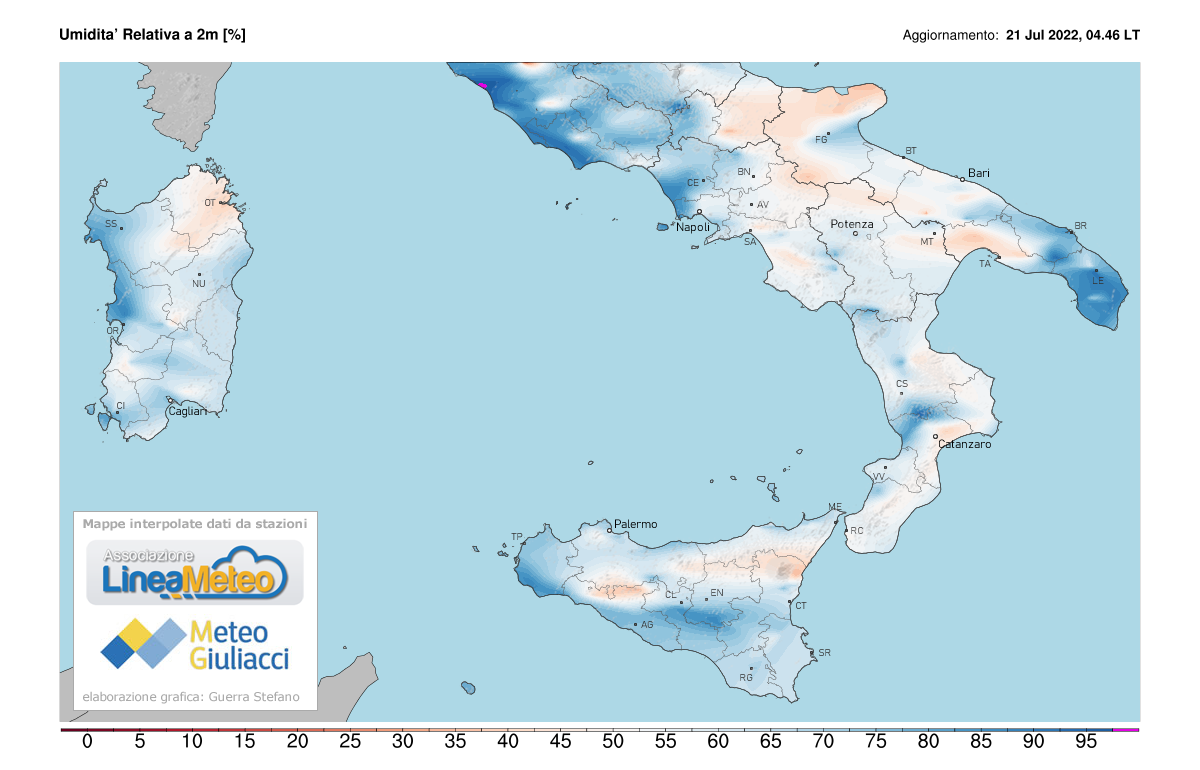 Umidità relativa Sud Italia