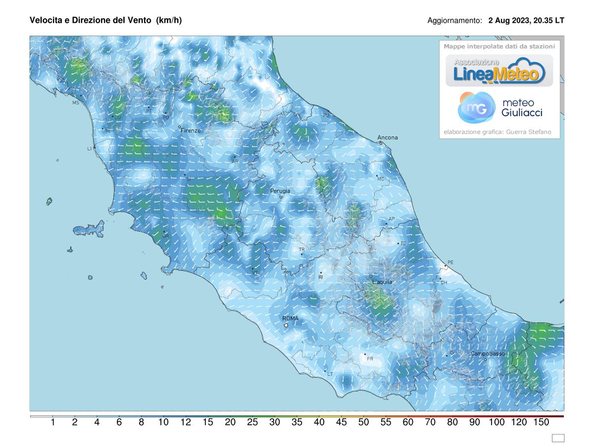 Intensità del vento Centro Italia