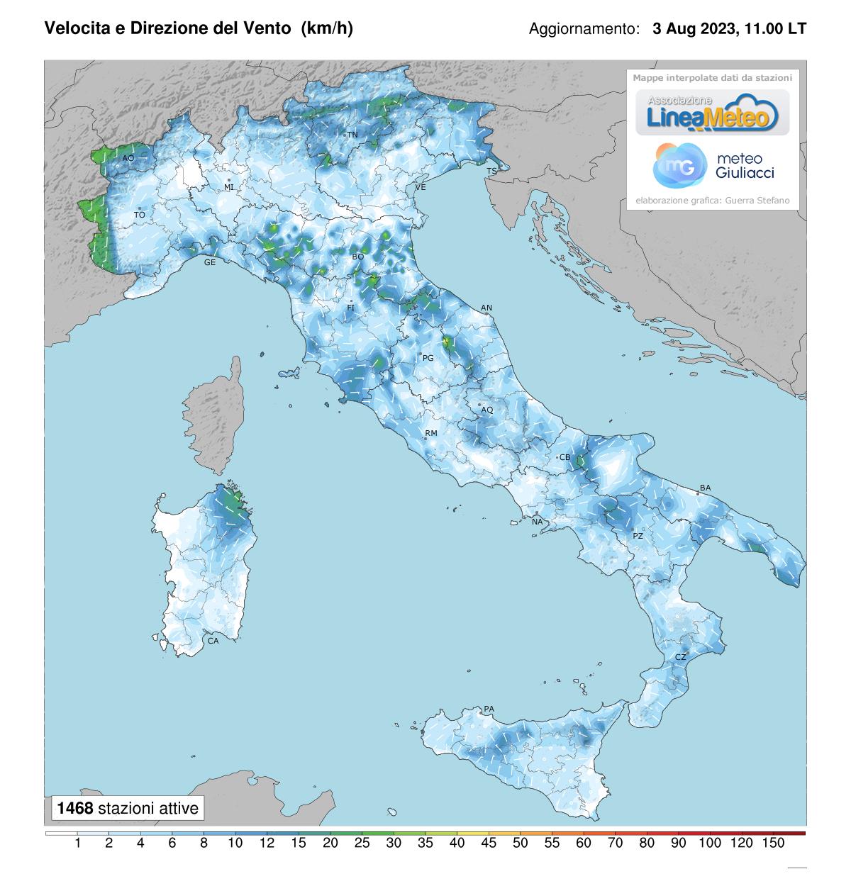 Intensità del vento Italia