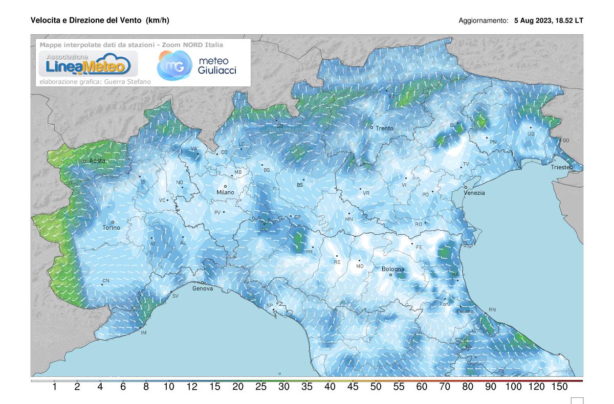 Intensità del vento Nord Italia