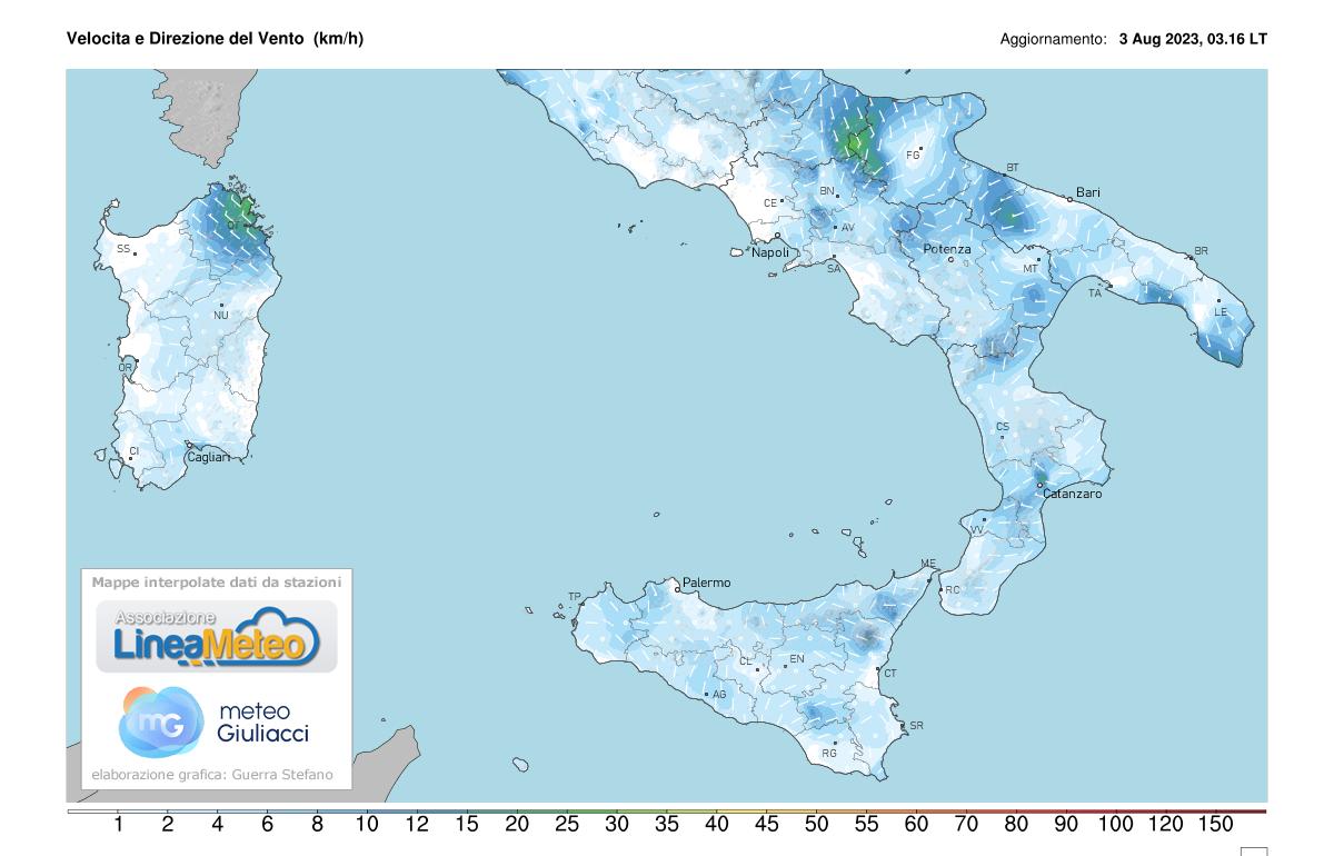 Intensità del vento Sud Italia