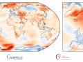 Fig. 1 -Anomalia della temperatura dell'aria di superficie per settembre 2017 rispetto alla media di settembre per il periodo 1981-2010.