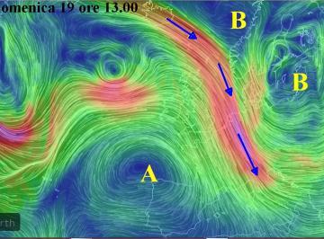 Le correnti fredde alla quota di 5500m alle ore 13.00 di domenica