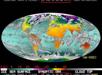 Il pianeta visto dal collage delle immagini da satellite lunedì 15 gennaio