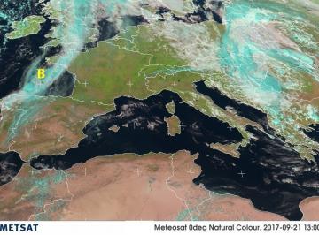 Fig. 1 - Perturbazione a nordest della Spagna nel pomeriggio di giovedì 21 settembre