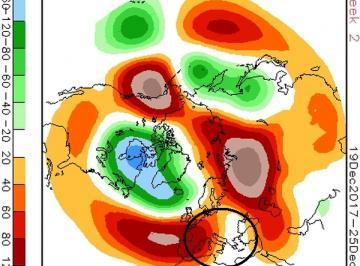 Fig. 1 - Anomalie a 500 hPa tra il 19 e il 25 dicembre. (Marrone =  pressione in aumento