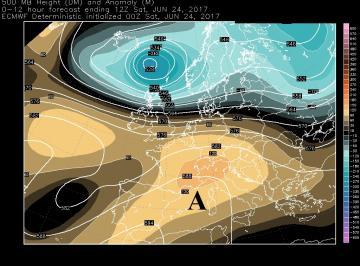 Fig. 1 Anticiclone Nord africano alle ore 14.00 di sabato 24