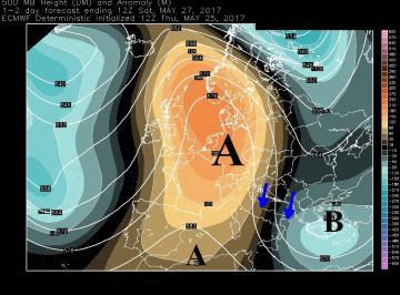 Fig.1 - Correnti  a 500 hPa alle ore 14.00 di sabato 27 maggio (anticiclone africano = dal marrone scuro al primo marrone chiaro)