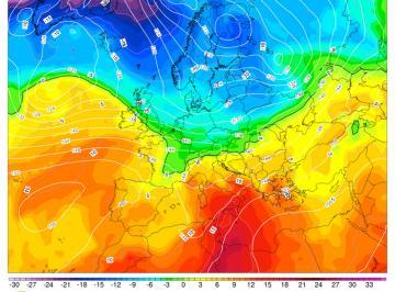 Fig.1 Correnti polari raggiungono le Alpi sabato 25 (GFS)