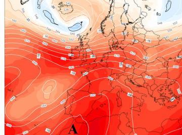 Fig. 1 - Pressione al livello del mare e , in rosso, la bolla di aria calda che accompagna l'anticiclone  africano, alle ore 17.00 di venerdì