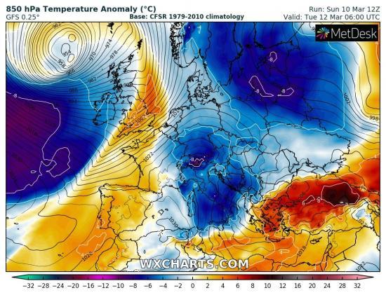Anomalie termiche in Europa: aria molto fredda scende sul Mediterraneo