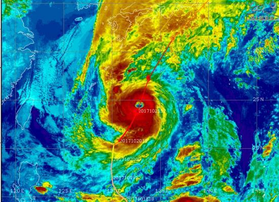 Fig. 1 - Il tifone visto dal satellite alle ore 14.00 di sabato 21 ottobre