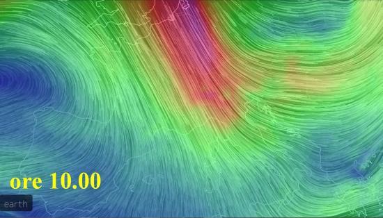 Fig.1 - Venti freddi in arrivo dal Nord Europa visti alle ore 10.00 alla quota dl 5500m