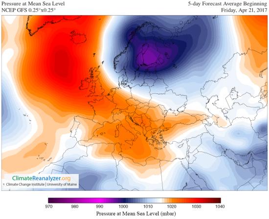 Pressione al livello mare mediata tra venerdì 21 e martedì 25 aprile. Marrone = alta pressione. Blu = bassa preessione