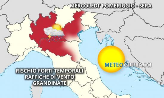 Allerta meteo, piogge sul centronord