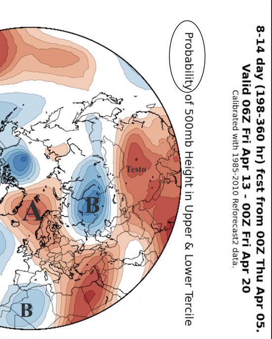 Fig.1 – Struttura delle correnti a 5500m mediata tra il 15 e il 20 aprile sulla base delle medie di ensemble  GFS