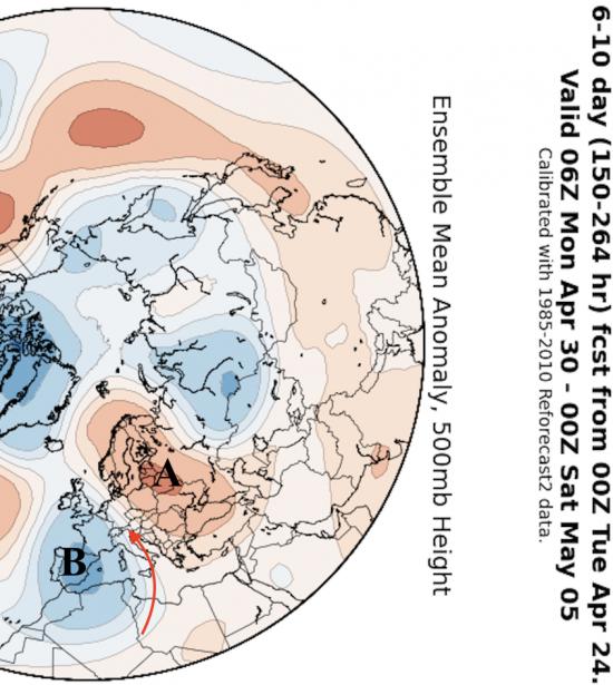 Anomalie di pressione atmosferica alla quota di 5500m circa tra lunedì 30 aprile e venerdì 4 maggio