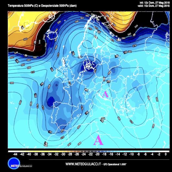 Temperature e pressione alla quota di 5500m