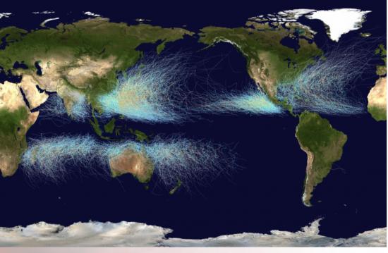 Le aree di più frequente formazione dei cicloni tropicali e loro traiettoria