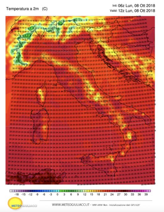 Temperature previste per le ore 14.00 di lunedì' 8 ottobre