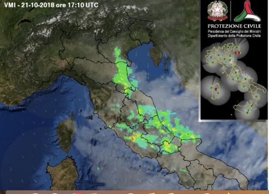 Radar meteo alle oltre 19.10 di domenica 21 ottobre (Protezione Civile)