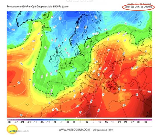 Temperature a 1500m circa previste per domenica 28 ottobre