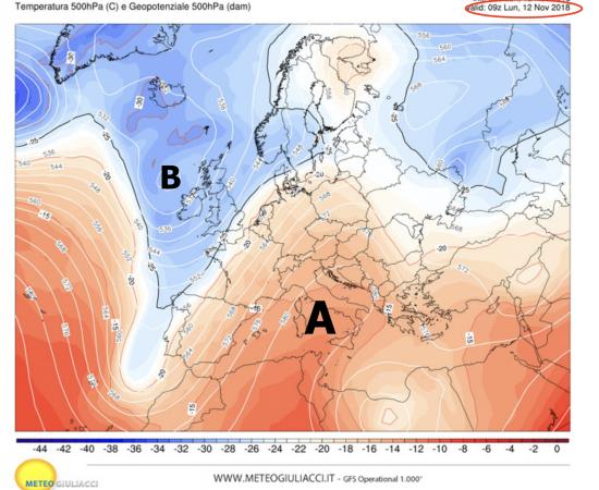 pressione alla quota di 5500m alla ore 10.00 di lunedì 12novembre