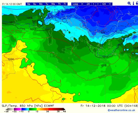 Temperature a 2m alle ore 01.00 del 14 dicembre