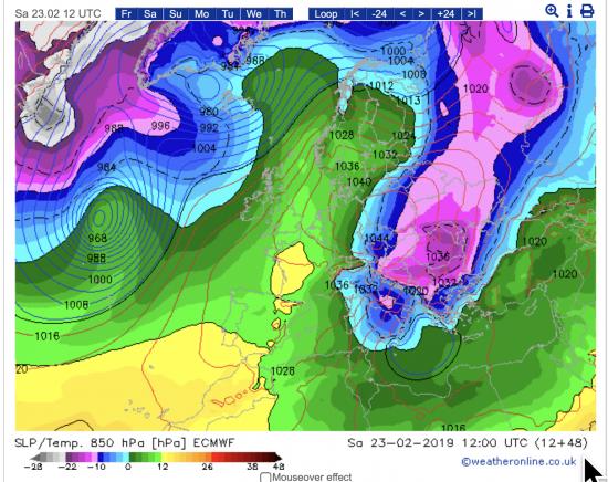Temperature a 1500m alle ore 13.00 del 23 febbraio
