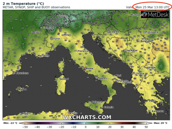 Temperature osservate alle ore 14.00 lunedì 25 marzo