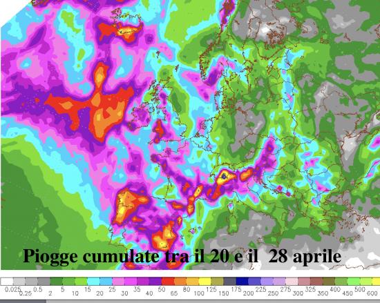 Piogge cumulate tra il 20 e il 28 aprile