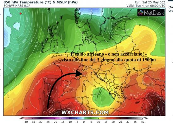 Temperature alla quota di 1500m circa previste per la fine del 3 giugno