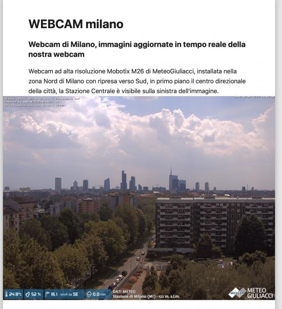 webcam Meteogiuliacci a MIlano rivolta verso Sud