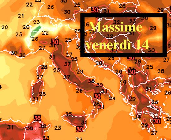 Temperature massime venerdì 14 giugno