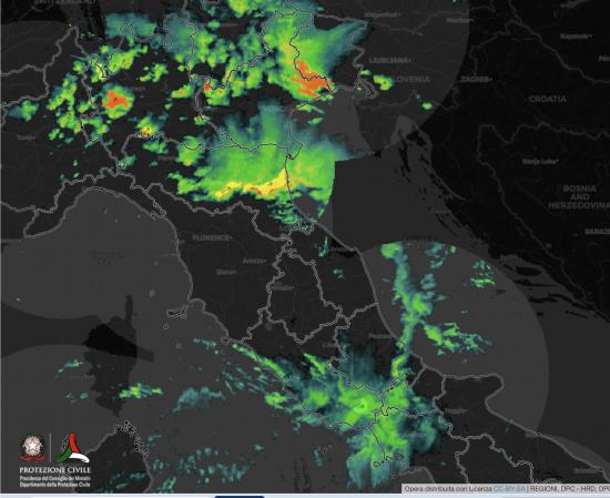 Le piogge Osservate al Radar alle ore 08.40