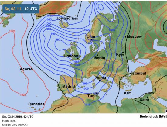 Pressione al livello del mare alle ore 13.00 di domenica 3 novembre