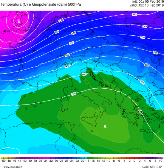 Correnti e temperature a 5500m domenica 10 febbraio